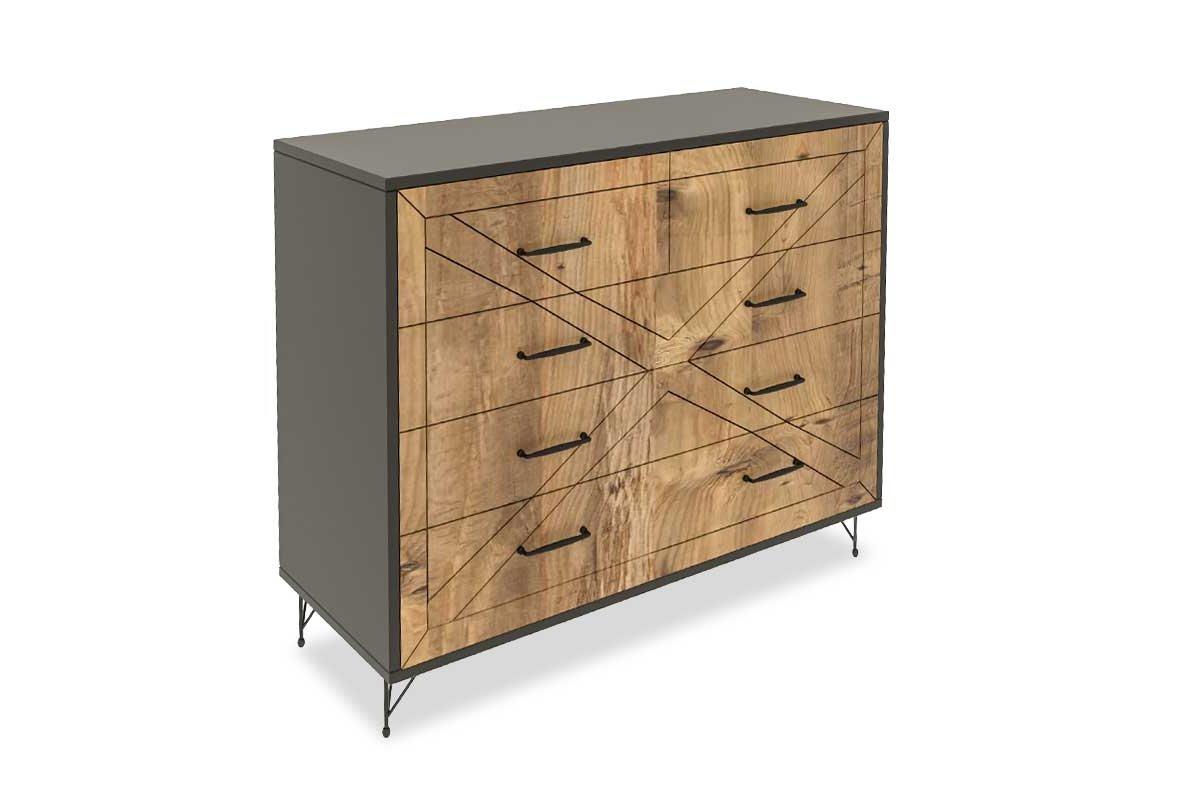 Συρταριέρα με 4 συρτάρια σε χρώμα ανθρακί-πεύκο 80x40x100