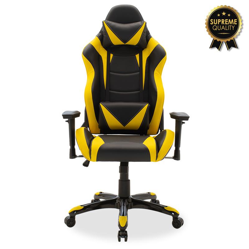 """Πολυθρόνα εργασίας """"RUSSEL SUPREME QUALITY"""" από PU σε χρώμα μαύρο-κίτρινο 74x66/120x128/138"""