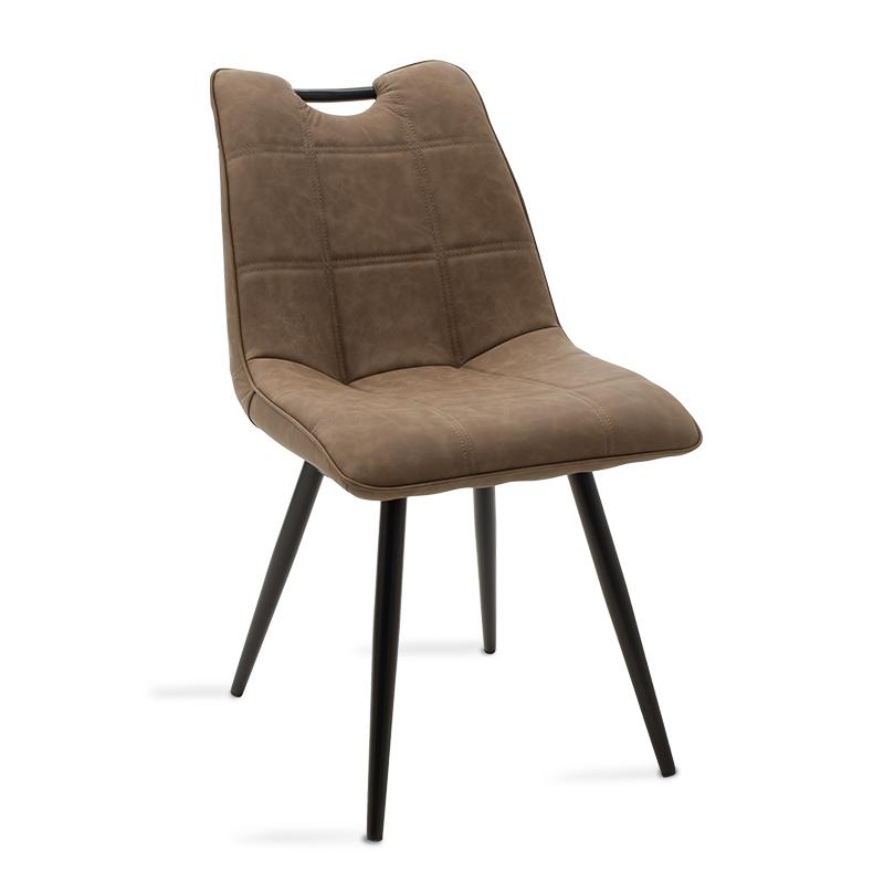 """Καρέκλα """"NELY"""" μεταλλική-pu σε μαύρο-σκούρο antique καφέ χρώμα 47x61x85"""
