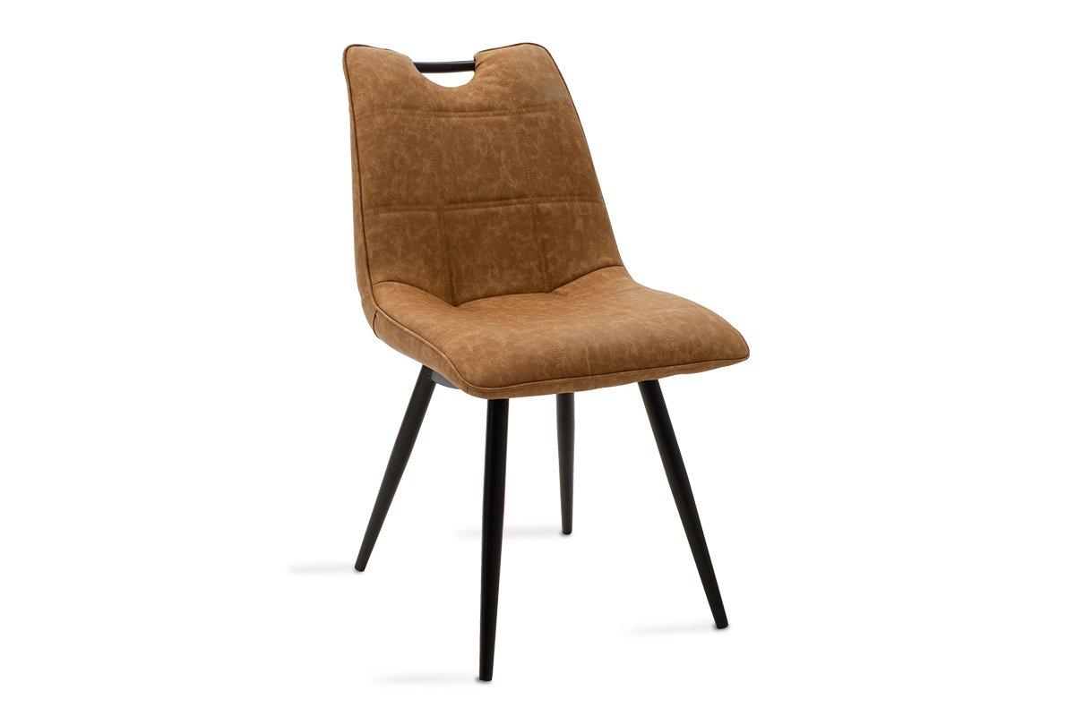 """Καρέκλα """"NELY"""" μεταλλική-pu σε μαύρο-camel antique χρώμα 47x61x85"""