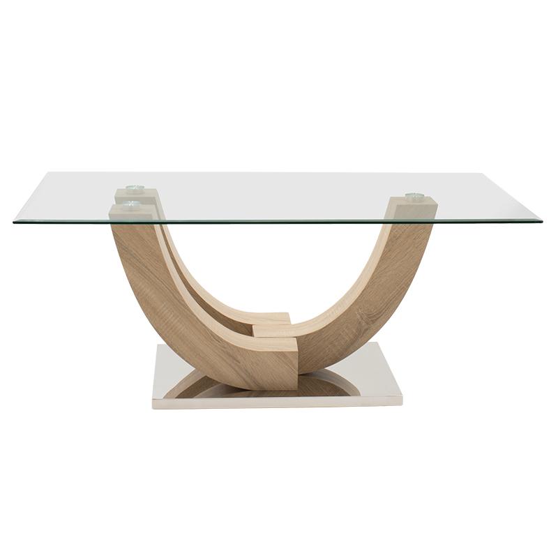"""Τραπέζι σαλονιού """"DUNK"""" σε χρώμα σονόμα με γυάλινη επιφάνεια 120x60x48"""