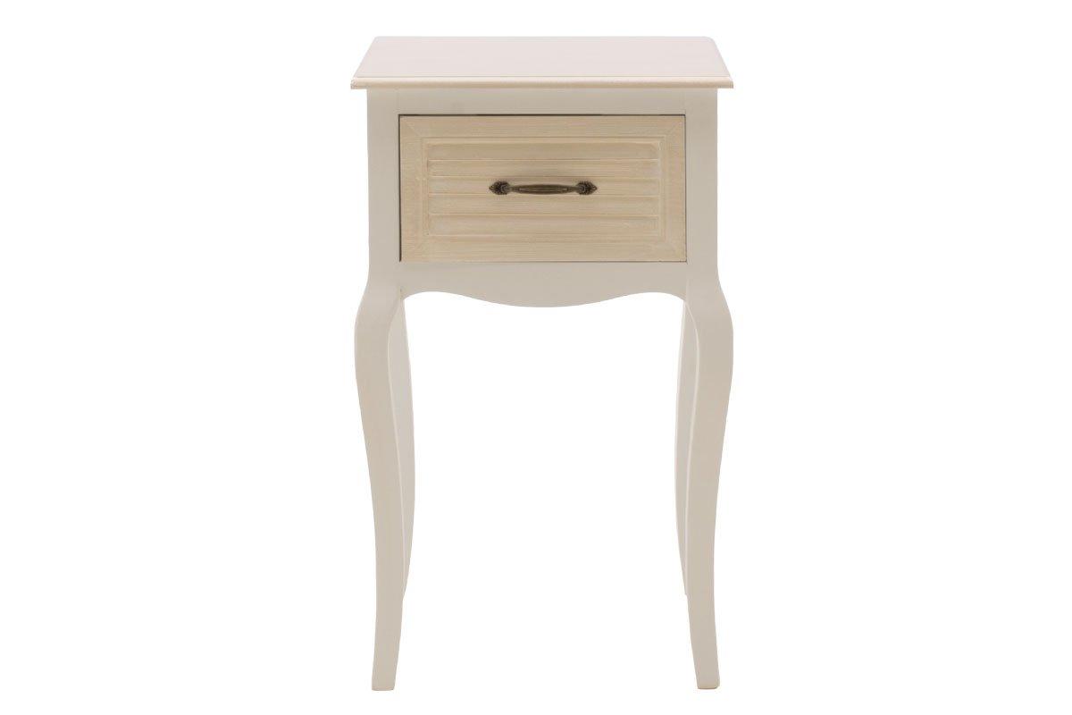 """Κομοδίνο """"Layla"""" ξύλινο σε λευκό-φυσικό 40x32x71"""