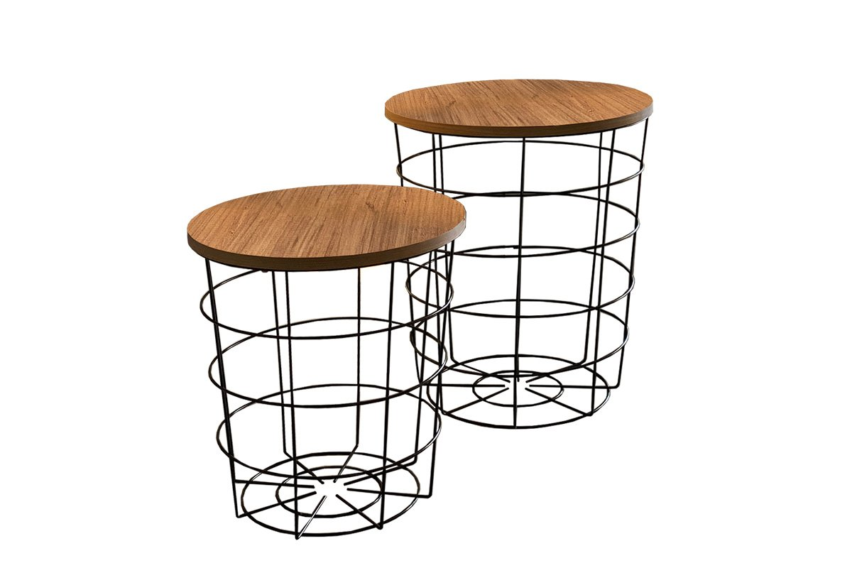 """Βοηθητικά τραπέζια """"LAERT"""" 2τμχ από μέταλλο σε φυσικό-μαύρο χρώμα Φ45×54"""