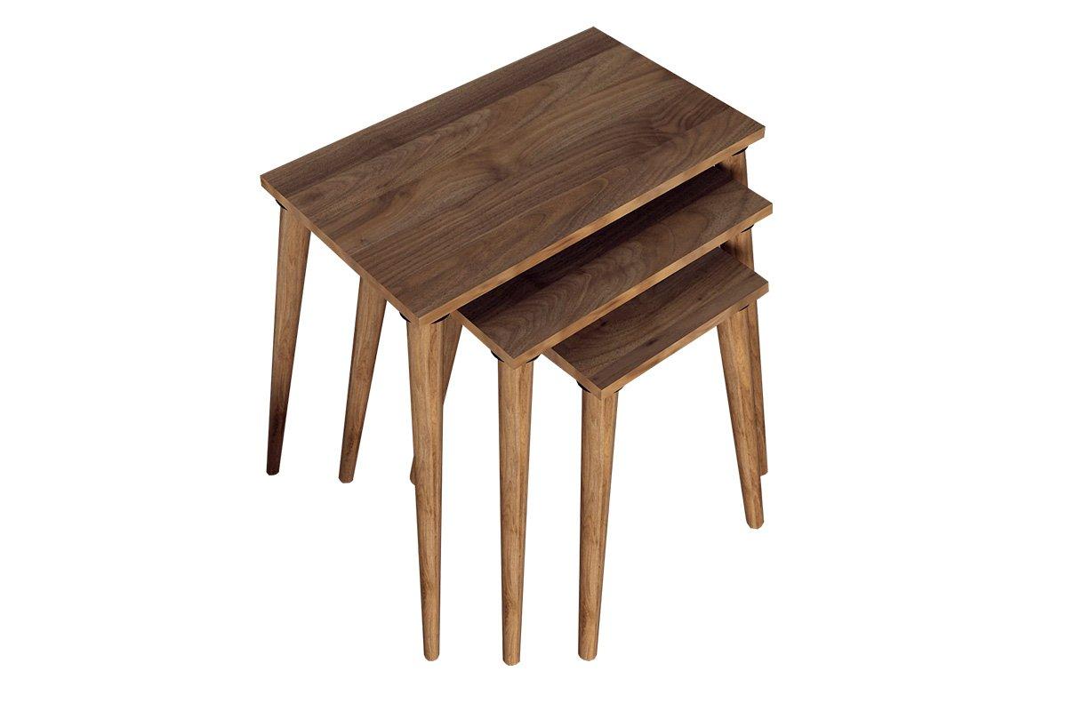 """Βοηθητικά τραπέζια σαλονιού """"MOZE"""" 3τμχ σε καφέ-καρυδί χρώμα 58x32x55"""