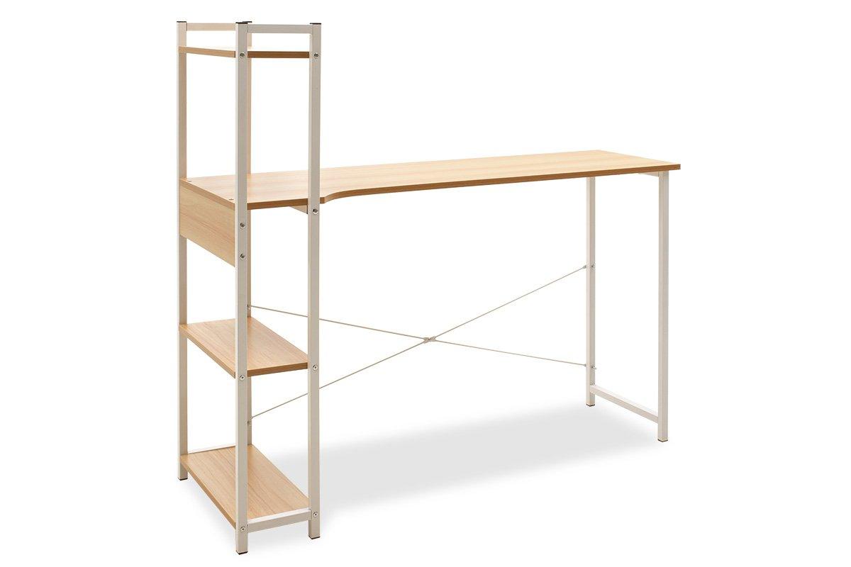 """Γραφείο """"Kadyn"""" με αριστερή ραφιέρα από μέταλλο-MDF σε δρυς-λευκό χρώμα 120x48x73,5/111"""