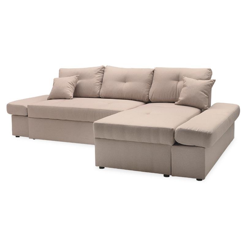 """Γωνιακός καναπές-κρεβάτι """"BIGGER"""" με αριστερή γωνία υφασμάτινος σε μπεζ χρώμα 270x166x86"""
