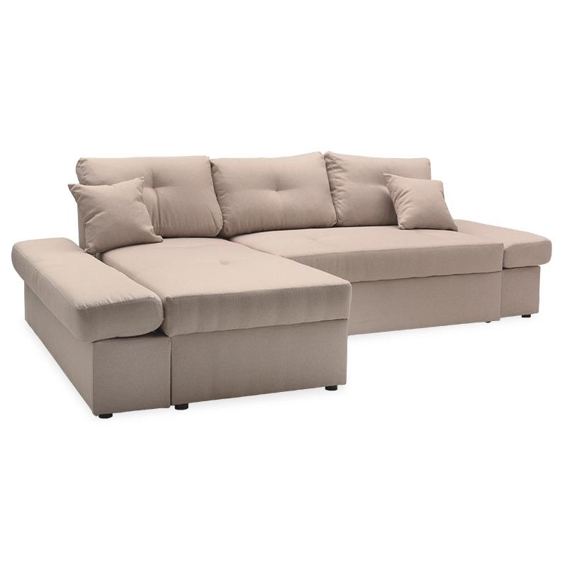 """Γωνιακός καναπές-κρεβάτι """"BIGGER"""" με δεξιά γωνία υφασμάτινος σε μπεζ χρώμα 270x166x86"""