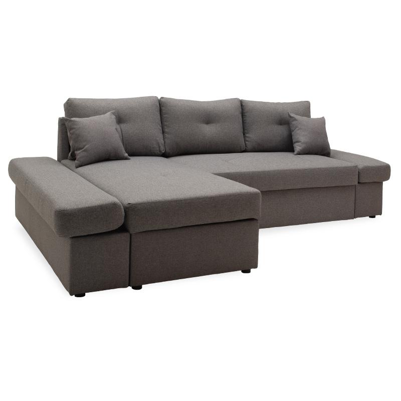 """Γωνιακός καναπές-κρεβάτι """"BIGGER"""" με δεξιά γωνία υφασμάτινος σε γκρι χρώμα 270x166x86"""