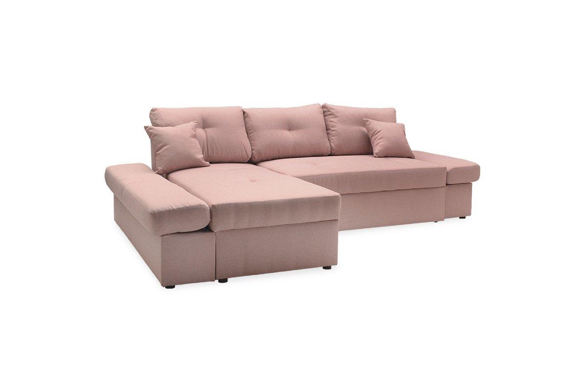 """Γωνιακός καναπές-κρεβάτι """"BIGGER"""" με δεξιά γωνία υφασμάτινος σε ροζ χρώμα 270x166x86"""