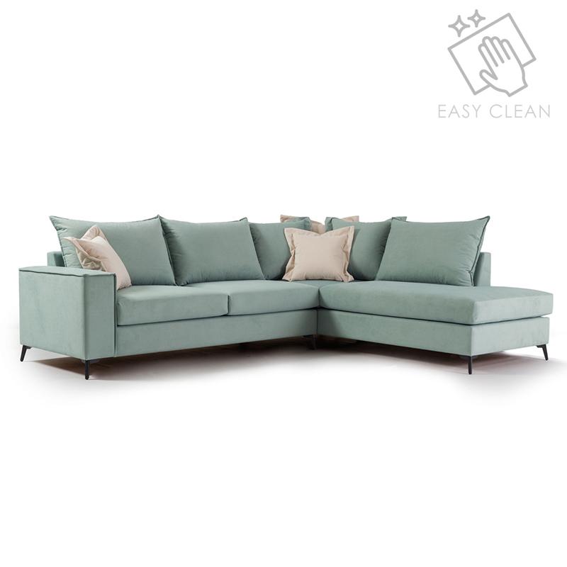 """Γωνιακός καναπές """"ROMANTIC"""" με αριστερή γωνία από ύφασμα σε σιέλ-κρεμ χρώμα 290x235x95"""