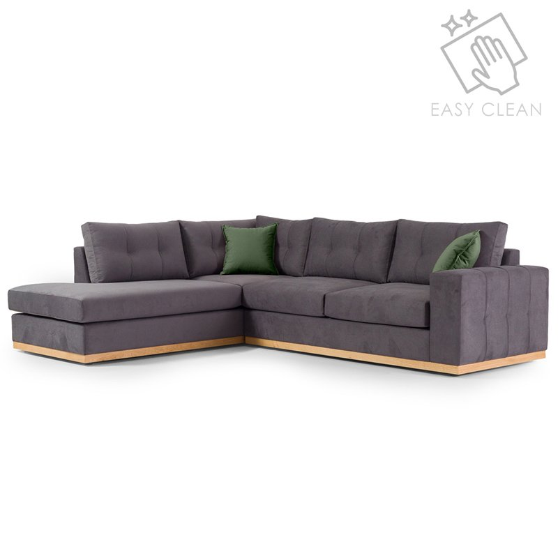 """Γωνιακός καναπές """"BOSTON"""" με δεξιά γωνία από ύφασμα σε ανθρακί-κυπαρισσί χρώμα 280x225x90"""