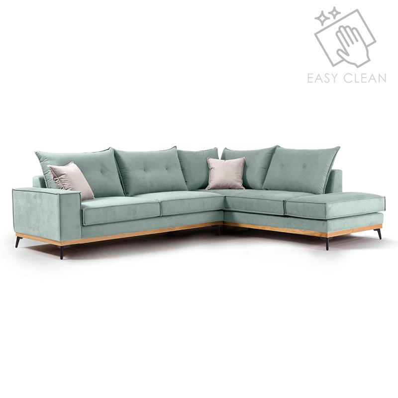 """Γωνιακός καναπές """"LUXURY II"""" με αριστερή γωνία από ύφασμα σε σιέλ-κρεμ χρώμα 290x235x95"""