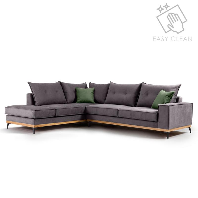"""Γωνιακός καναπές """"LUXURY II"""" με δεξιά γωνία από ύφασμα σε ανθρακί-κυπαρισσί χρώμα 290x235x95"""