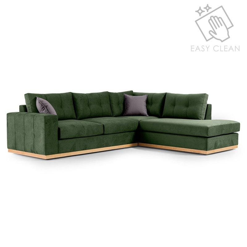 """Γωνιακός καναπές """"BOSTON"""" με αριστερή γωνία από ύφασμα σε κυπαρισσί-ανθρακί χρώμα 280x225x90"""
