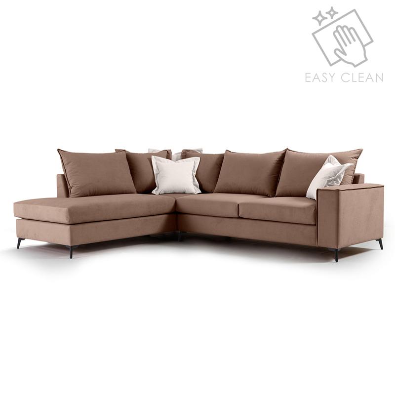 """Γωνιακός καναπές """"ROMANTIC"""" με δεξιά γωνία από ύφασμα σε μόκα-κρεμ χρώμα 290x235x95"""