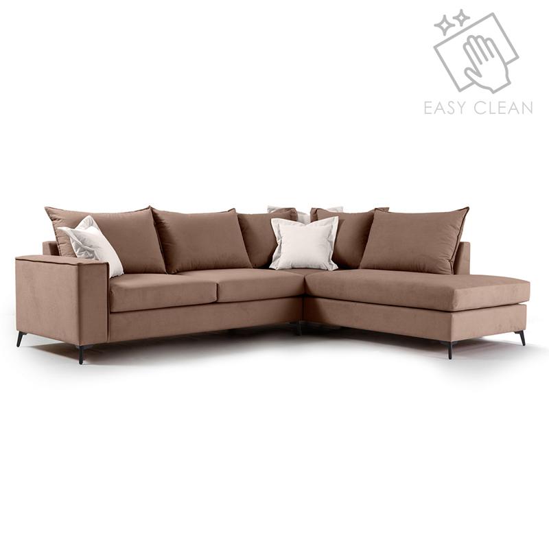 """Γωνιακός καναπές """"ROMANTIC"""" με αριστερή γωνία από ύφασμα σε μόκα-κρεμ χρώμα 290x235x95"""