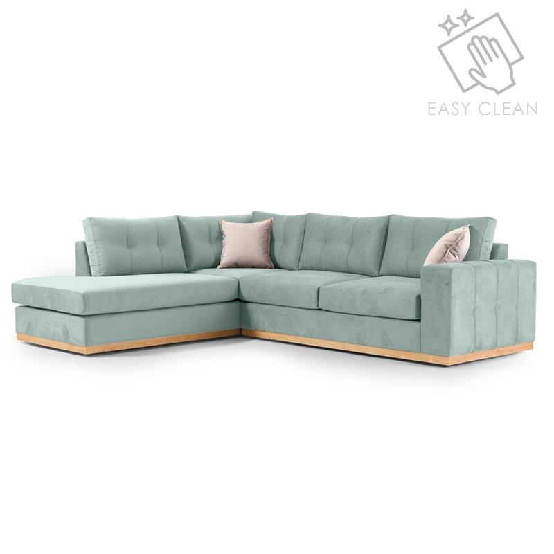"""Γωνιακός καναπές """"BOSTON"""" με δεξιά γωνία από ύφασμα σε σιέλ-κρεμ χρώμα 280x225x90"""