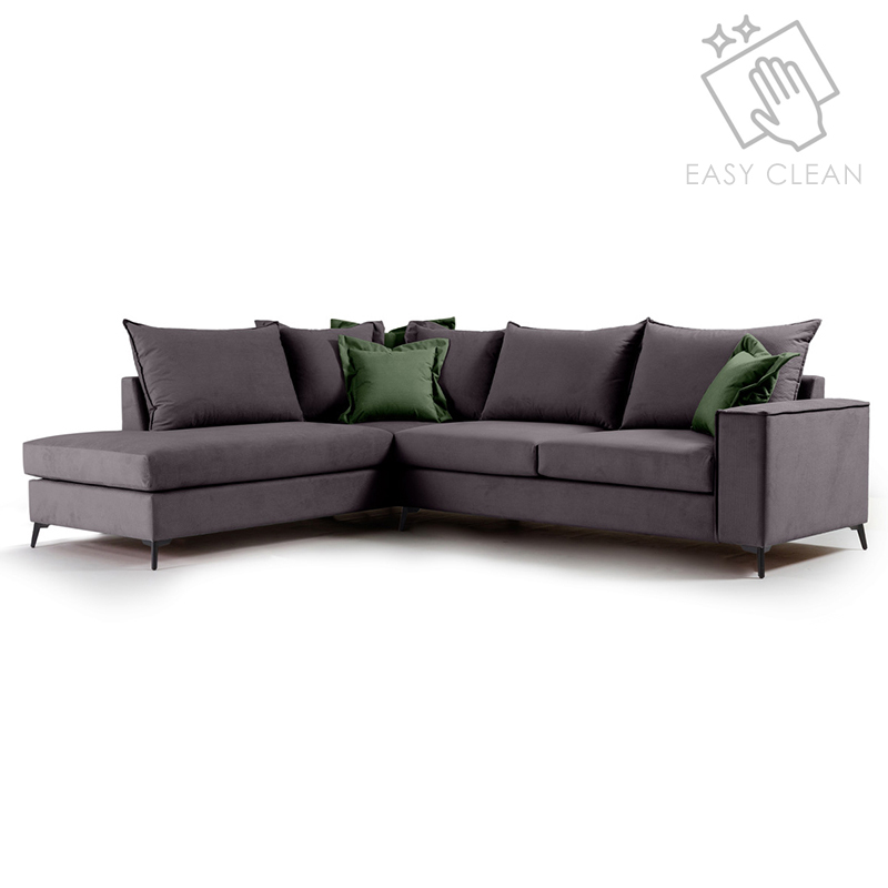 """Γωνιακός καναπές """"ROMANTIC"""" με δεξιά γωνία από ύφασμα σε ανθρακί-κυπαρισσί χρώμα 290x235x95"""