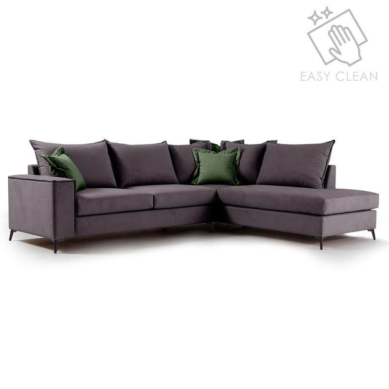"""Γωνιακός καναπές """"ROMANTIC"""" με αριστερή γωνία από ύφασμα σε ανθρακί-κυπαρισσί χρώμα 290x235x95"""