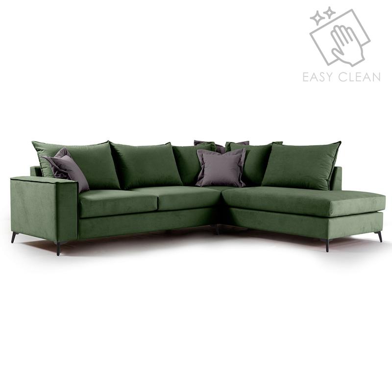 """Γωνιακός καναπές """"ROMANTIC"""" με αριστερή γωνία από ύφασμα σε κυπαρισσί-ανθρακί χρώμα 290x235x95"""