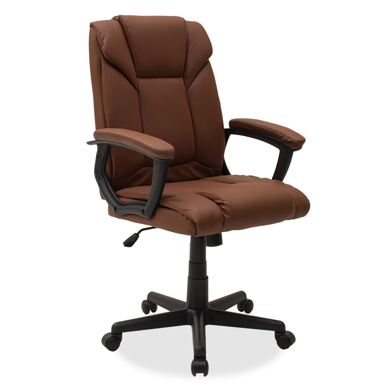 """Πολυθρόνα γραφείου διευθυντή """"CASPER"""" από τεχνόδερμα σε χρώμα καφέ-camel 63x62x96/107"""