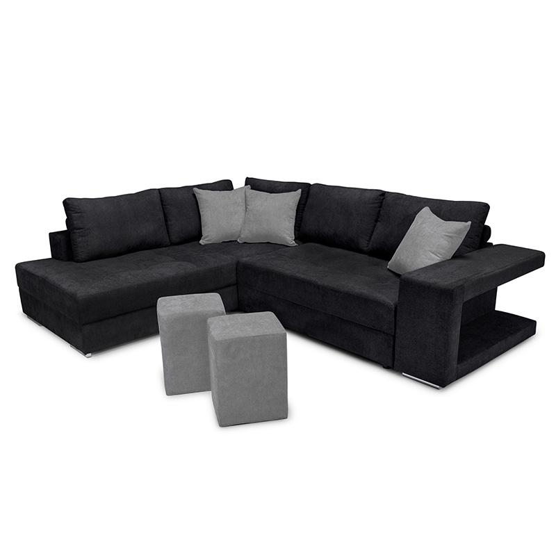 """Γωνιακός καναπές-κρεβάτι """"KARNA"""" με αριστερή γωνία υφασμάτινος σε μαύρο χρώμα 278x218x85"""