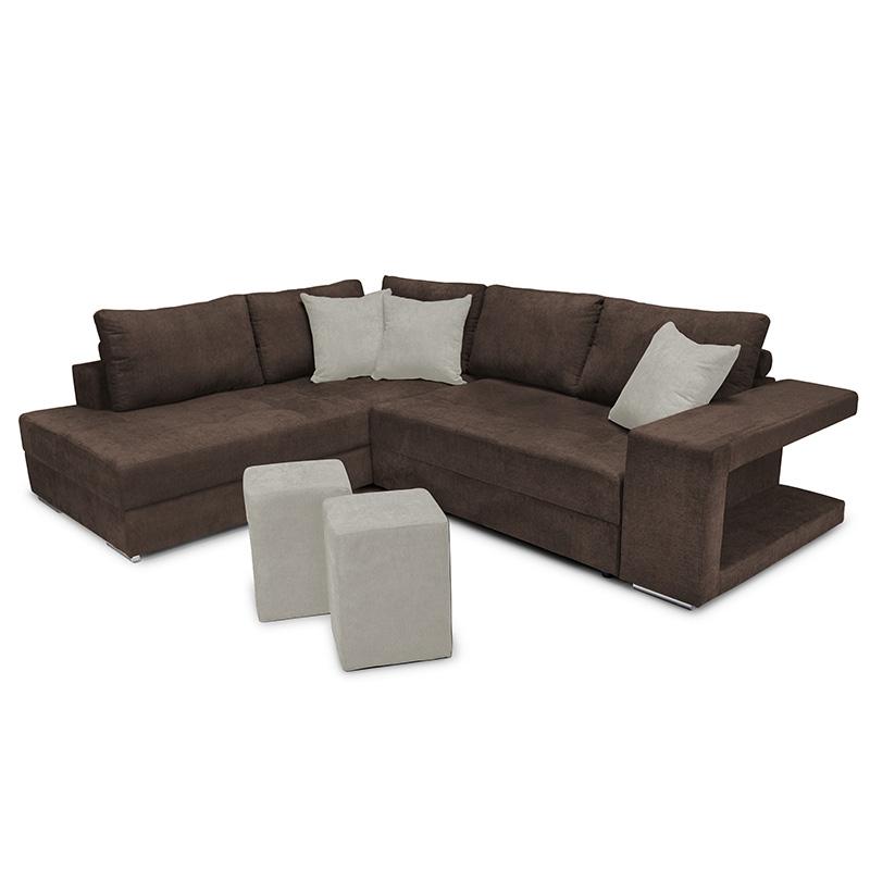 """Γωνιακός καναπές-κρεβάτι """"KARNA"""" με αριστερή γωνία υφασμάτινος σε καφέ χρώμα 278x218x85"""