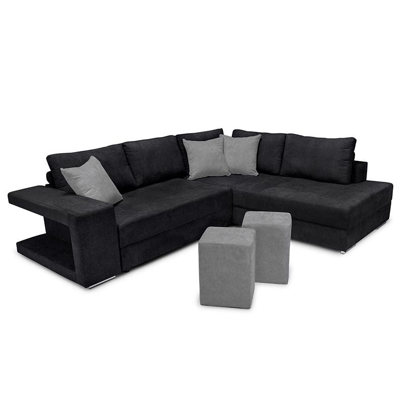 """Γωνιακός καναπές-κρεβάτι """"KARNA"""" με δεξιά γωνία υφασμάτινος σε μαύρο χρώμα 278x218x85"""