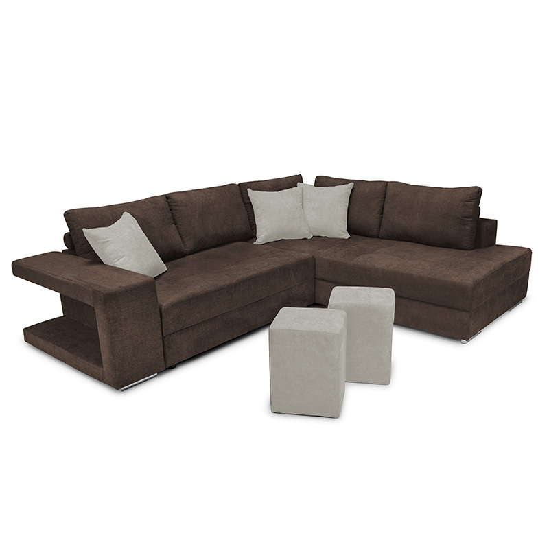 """Γωνιακός καναπές-κρεβάτι """"KARNA"""" με δεξιά γωνία υφασμάτινος σε καφέ χρώμα 278x218x85"""