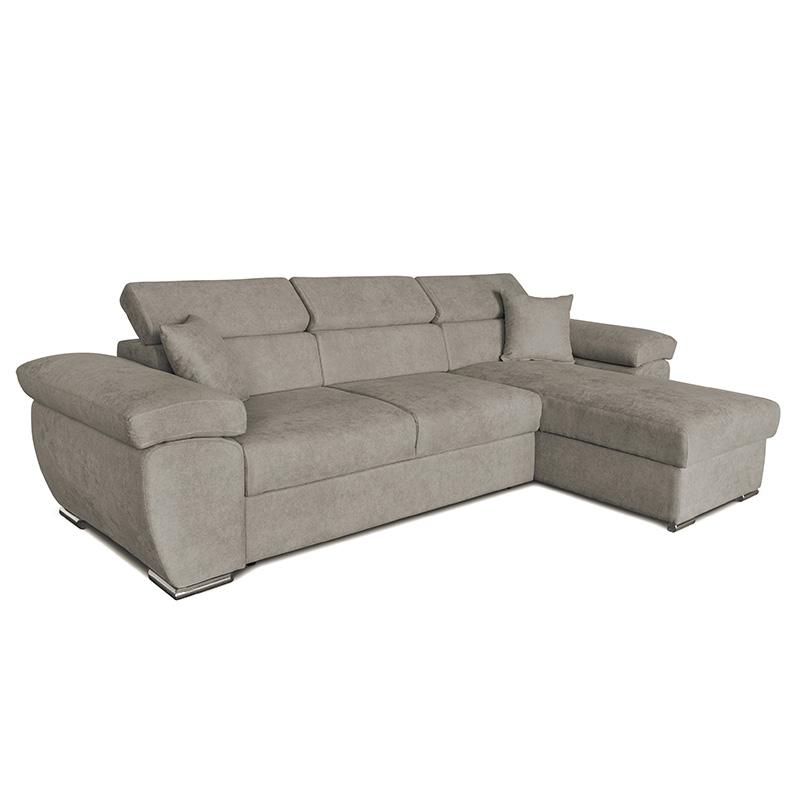 """Γωνιακός καναπές-κρεβάτι """"COMY"""" αναστρέψιμος από ύφασμα σε μπεζ χρώμα 286x160x75-90"""