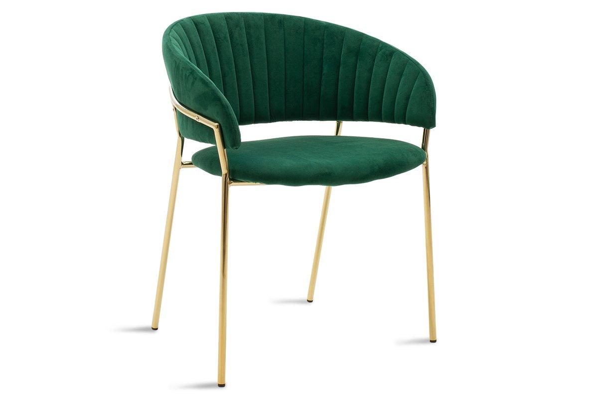 """Πολυθρόνα """"Maggie"""" από βελούδο-μέταλλο σε πράσινο-μαύρο χρώμα 58x58x74"""