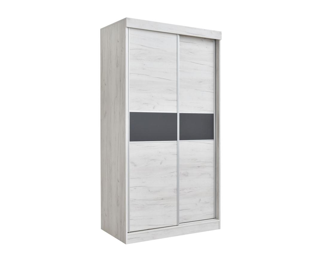 """Ντουλάπα """"ORMAR"""" δίφυλλη σε χρώμα δρυς-λευκό-γκρι 120x64x220"""