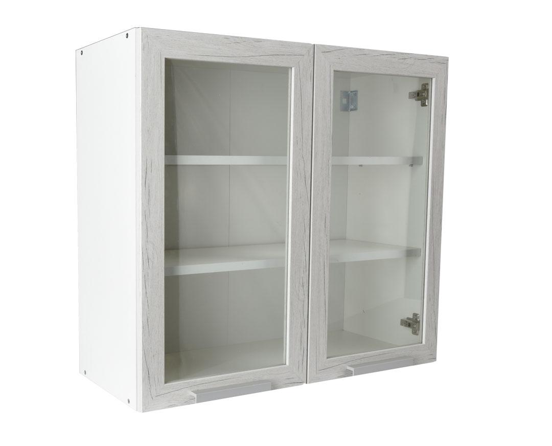 """Πάνω ντουλάπι κουζίνας """"IN"""" γυάλινο σε λευκό δρύς χρώμα 80x31x72"""