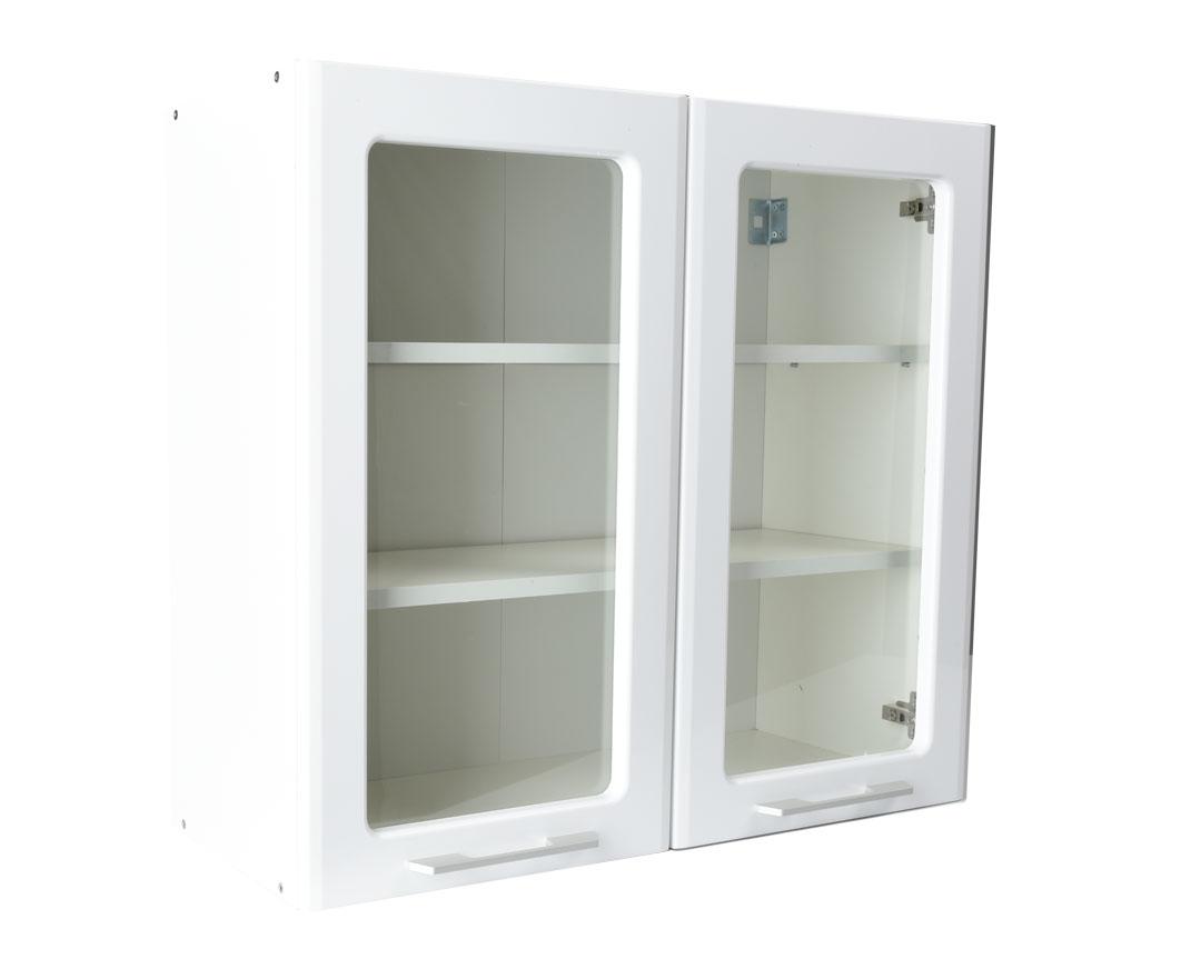 """Πάνω ντουλάπι κουζίνας """"IN MDF"""" γυάλινο σε λευκό γυαλιστερό χρώμα 80x31x72"""