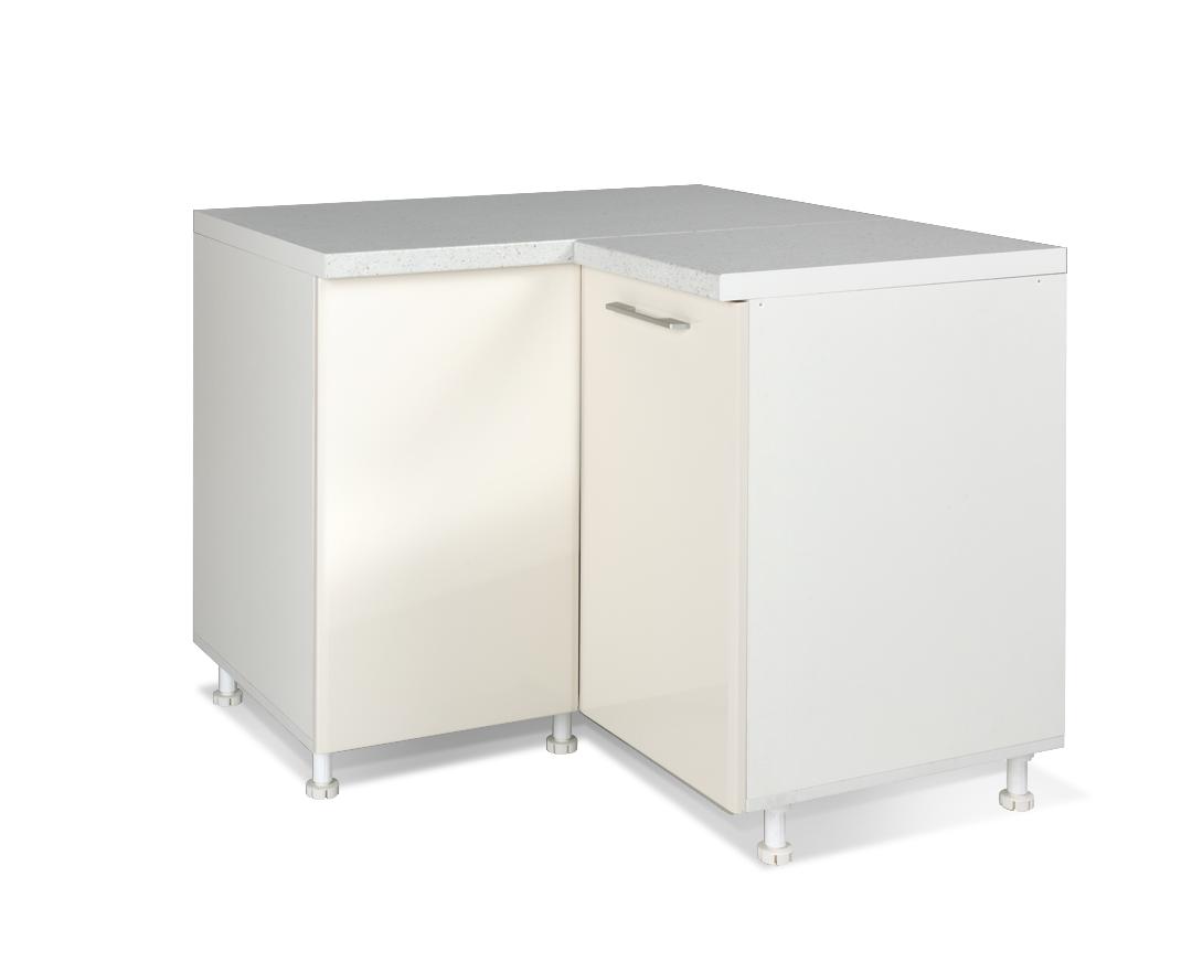 """Γωνιακό ντουλάπι κουζίνας """"IN MDF"""" σε μπεζ γυαλιστερό χρώμα 100/60x100/60x85"""