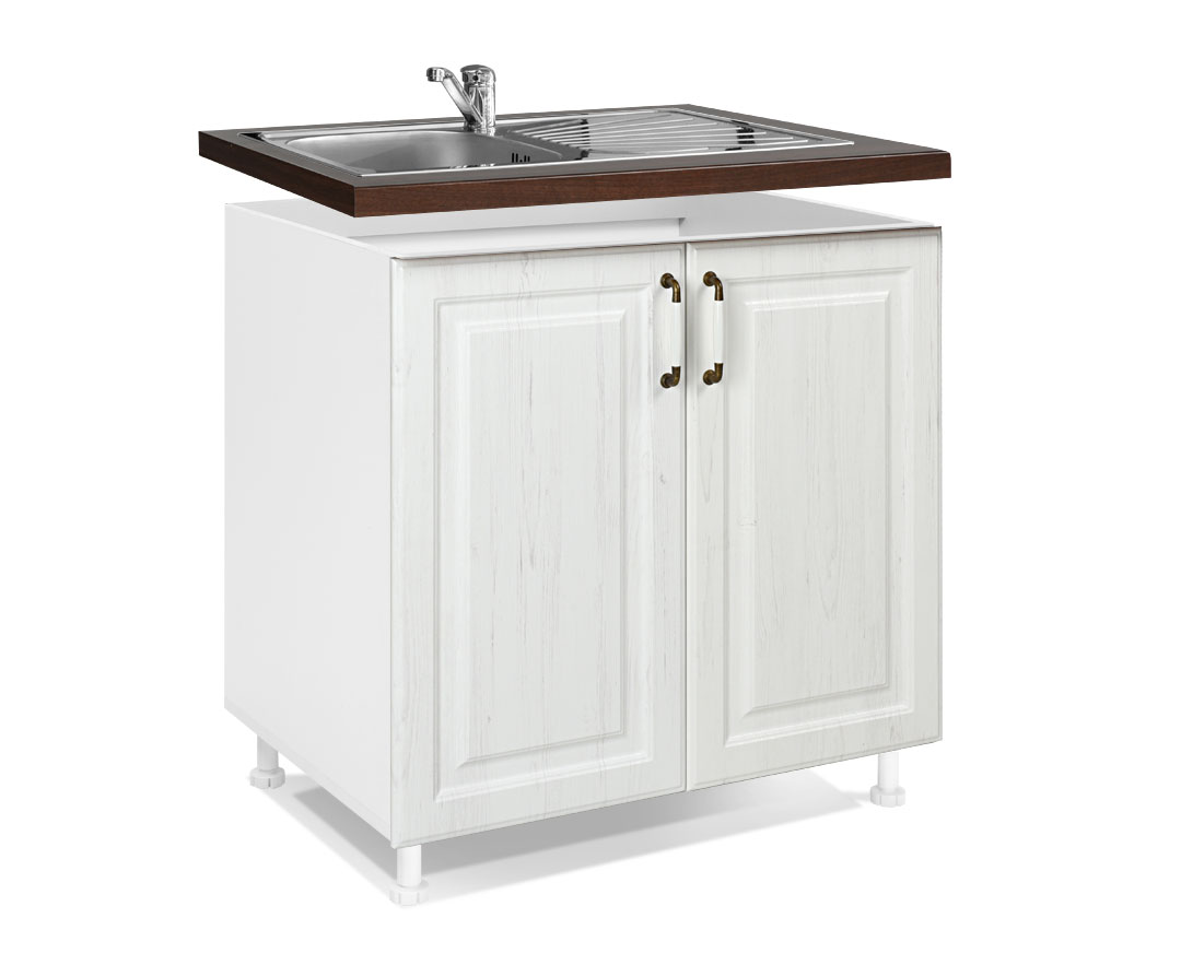 "Nτουλάπι νεροχύτη ""RUSTIK"" σε λευκό ρουστίκ χρώμα 80x60x85"