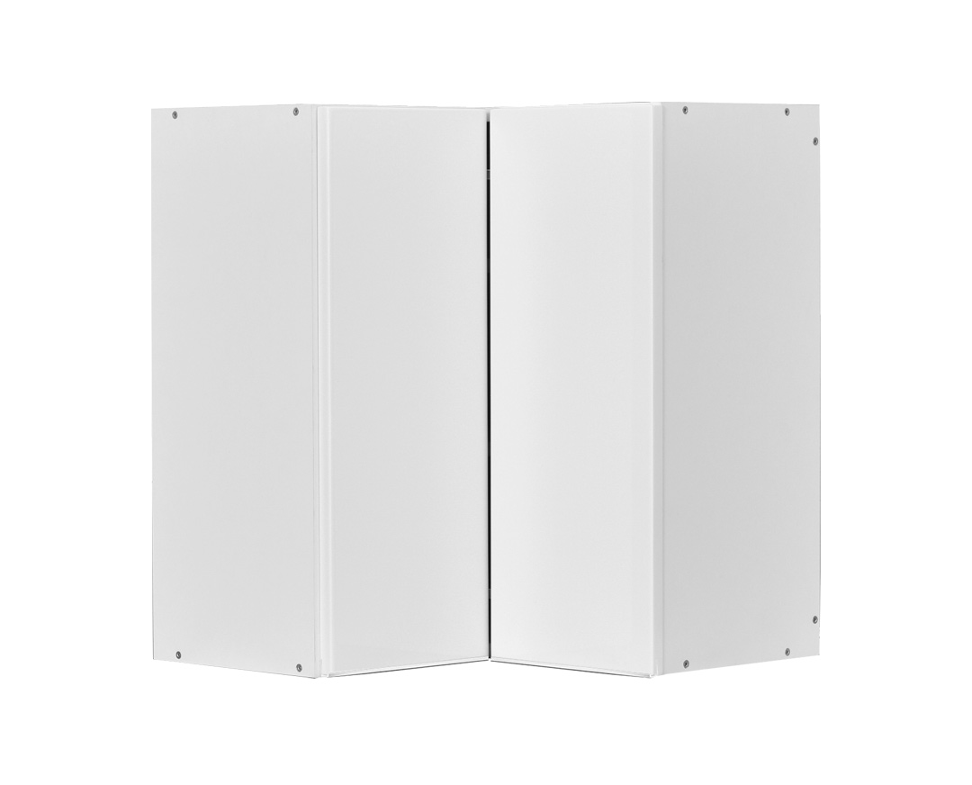 """Γωνιακό πάνω ράφι """"ELEGANCE"""" σε λευκό γυαλιστερό χρώμα 60/35x60/35x70"""