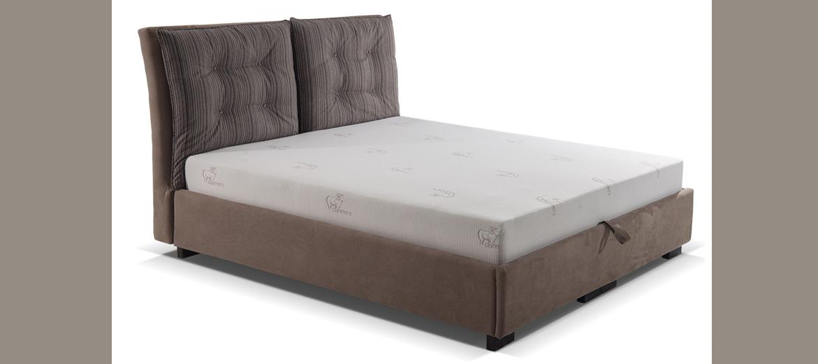 """Κρεβάτι """"ARIZONA"""" διπλό υφασμάτινο σε χρώμα καφέ 140x200"""