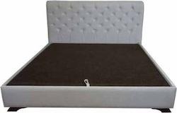 """Κρεβάτι """"ELITE"""" υπέρδιπλο με ενσωματομένο στρώμα υφασμάτινο σε χρώμα γκρι 180×200"""