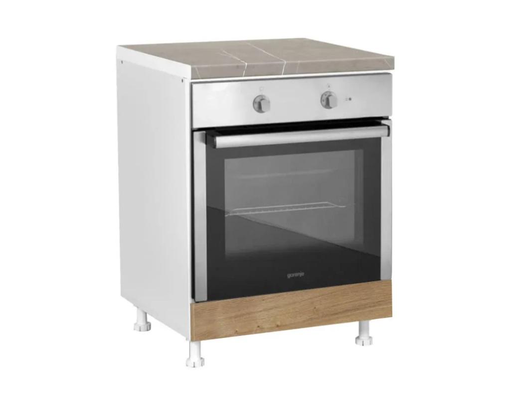 """Κάτω ντουλάπι κουζίνας """"ELEGANCE"""" για ενσωματωμένο φούρνο σε χρώμα δρυς 60x60x85"""