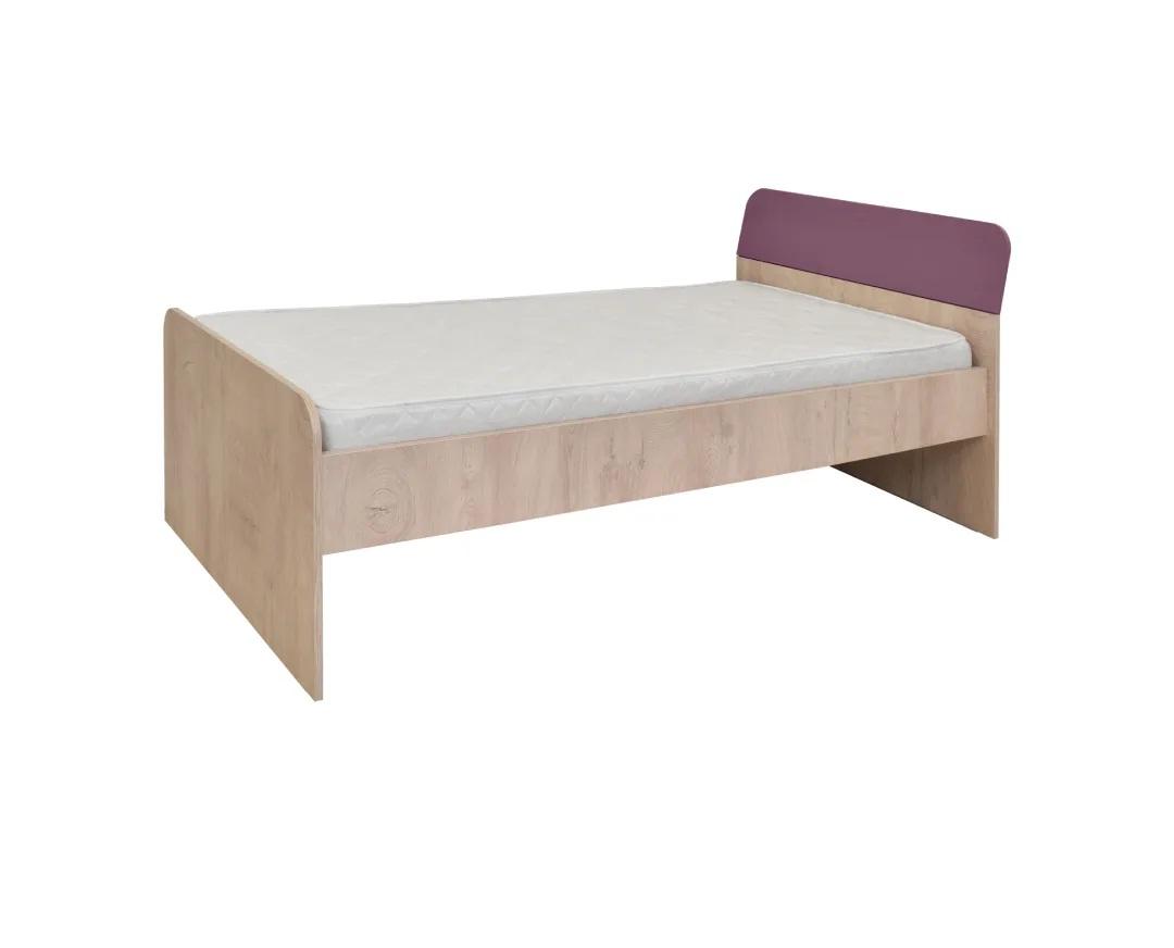 """Κρεβάτι ημίδιπλο """"KINDER"""" στο χρώμα δρυς/βιολετί 205x123x75"""