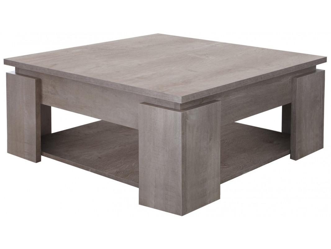 """Τραπέζι σαλονιού """"SEMA"""" από mdf σε ανοιχτό σταχτί χρώμα 80x80x36"""