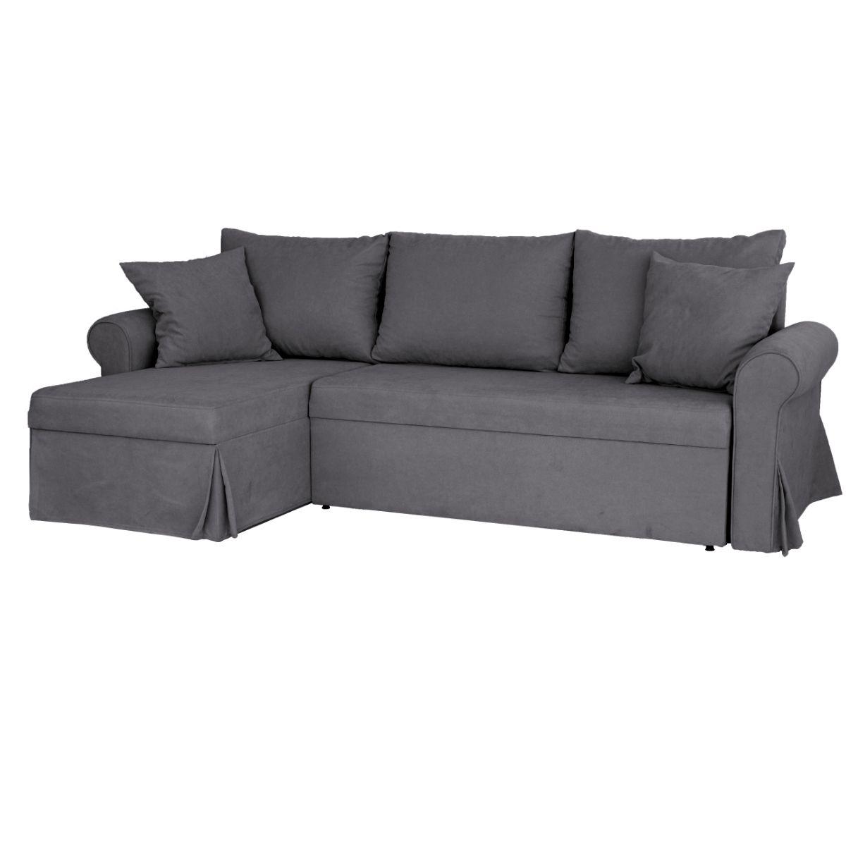 """Τριθέσιος γωνιακός καναπές-κρεβάτι """"POLIPACO"""" από ύφασμα σε γκρι χρώμα 234x140x88"""