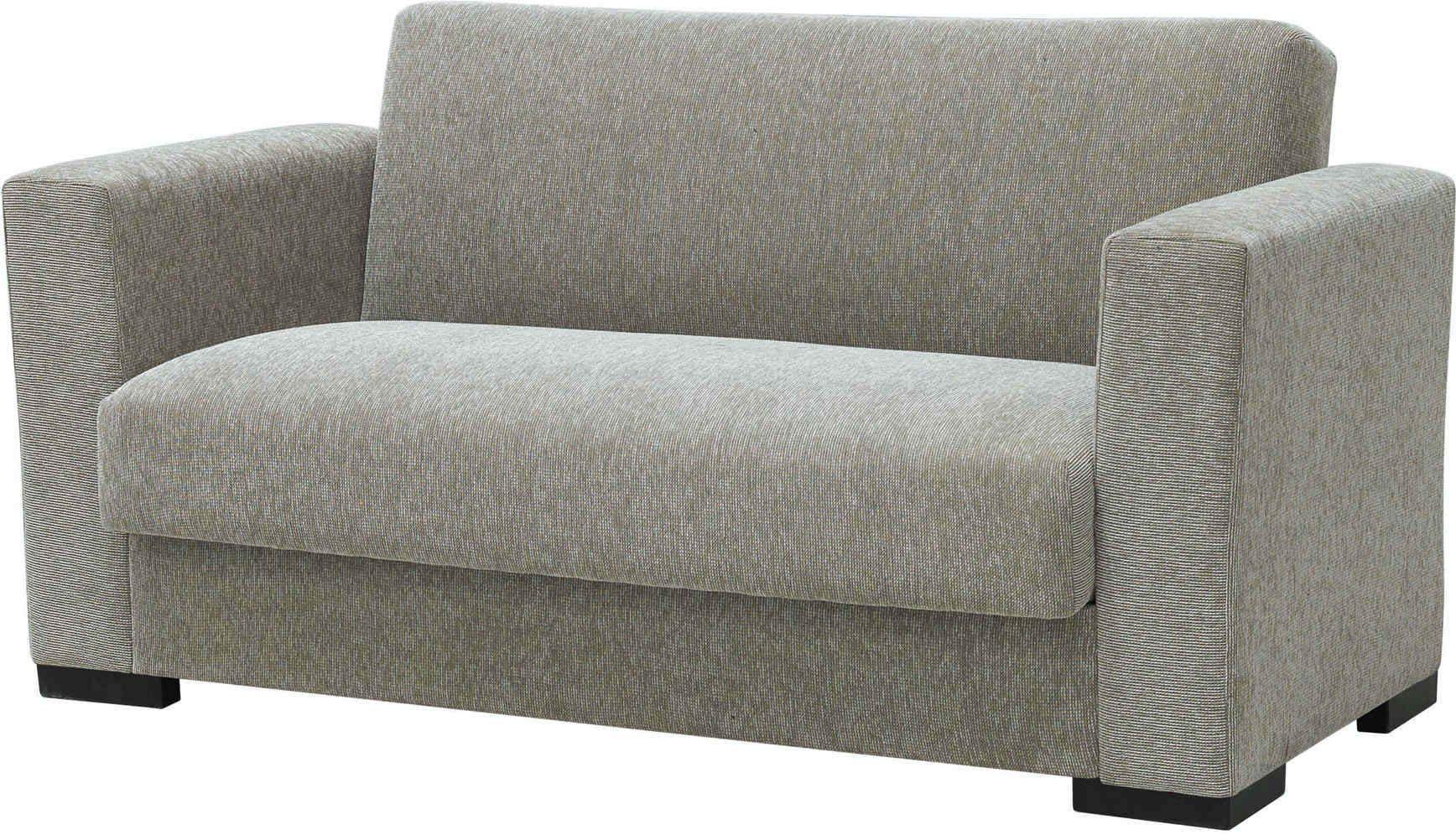 """Διθέσιος καναπές-κρεβάτι """"SILIO"""" από ύφασμα σε μπεζ χρώμα 155x75x77"""
