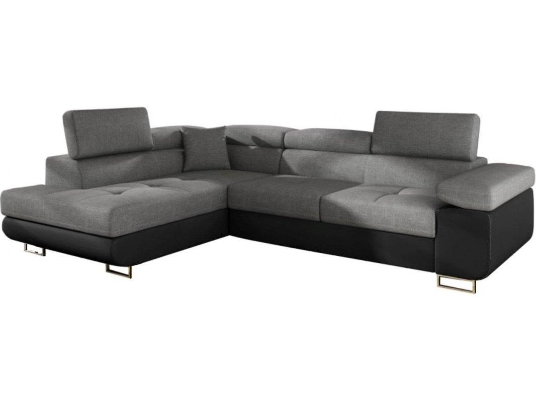 """Γωνιακός καναπές-κρεβάτι """"ANTONY"""" αριστερή γωνία από ύφασμα σε γκρι-μαύρο χρώμα 275x202x90"""