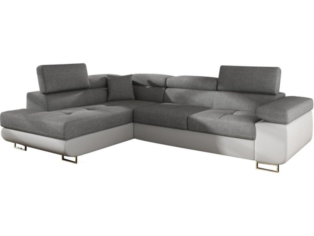 """Γωνιακός καναπές-κρεβάτι """"ANTONY"""" αριστερή γωνία από ύφασμα σε γκρι-λευκό χρώμα 275x202x90"""
