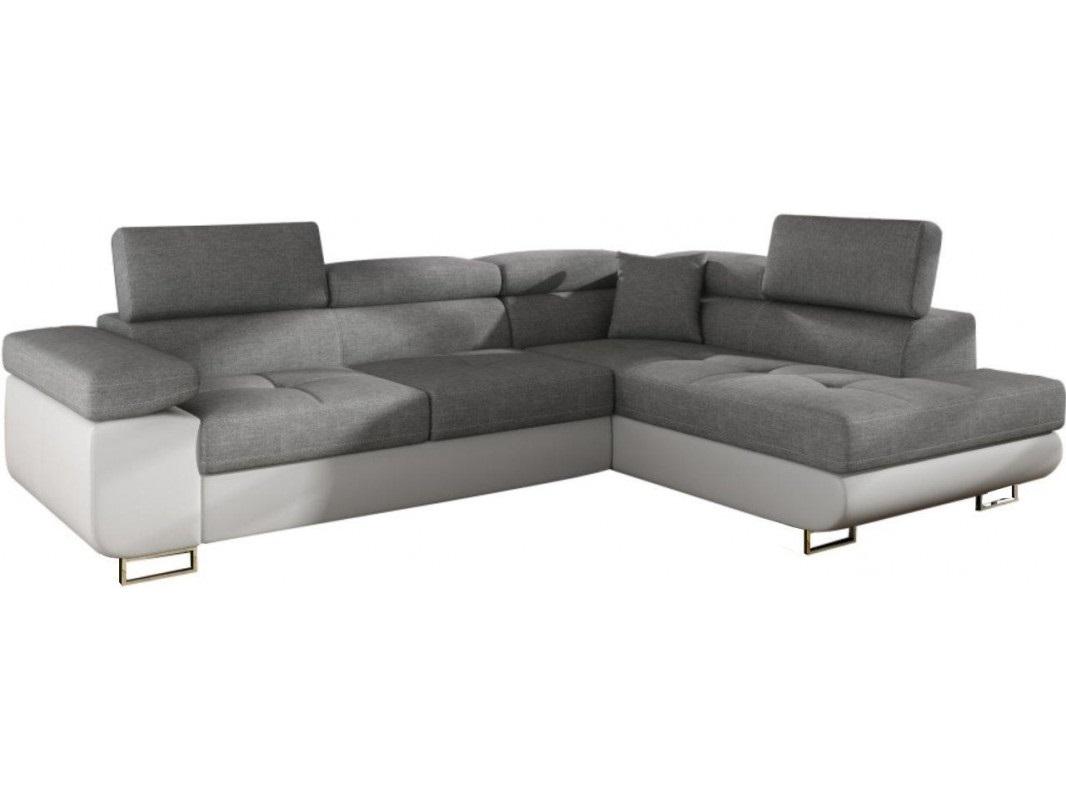 """Γωνιακός καναπές-κρεβάτι """"ANTONY"""" δεξιά γωνία από ύφασμα σε γκρι-λευκό χρώμα 275x202x90"""