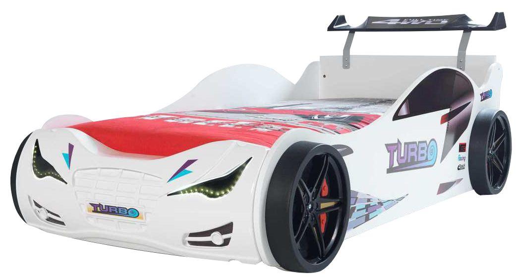 """Παιδικό κρεβάτι """"TURBO"""" αυτοκίνητο σε λευκό χρώμα 109x215x73"""
