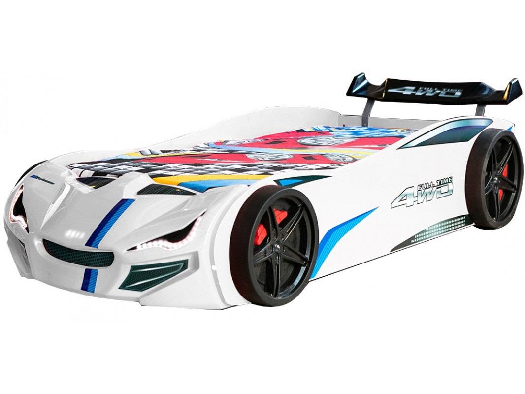 """Παιδικό κρεβάτι """"TURBO PLUS"""" αυτοκίνητο σε λευκό χρώμα 109x225x65"""