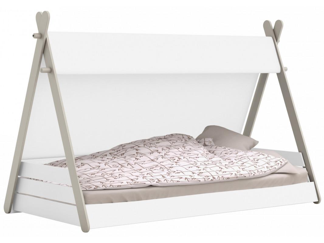 """Παιδικό κρεβάτι """"INCA"""" με τέντα από mdf σε λευκό-γκρι χρώμα 220x113x140"""
